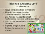 teaching foundational level mathematics