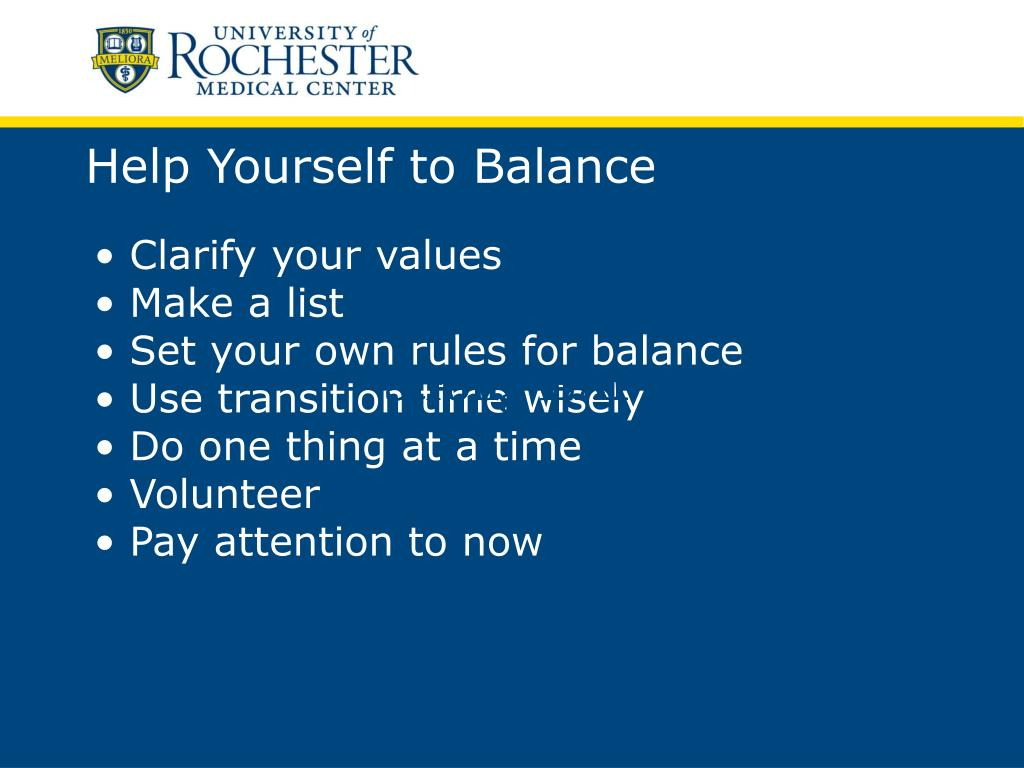 Help Yourself to Balance
