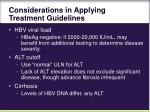 considerations in applying treatment guidelines