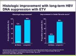 histologic improvement with long term hbv dna suppression with etv