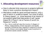1 allocating development resources