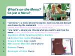 what s on the menu co jest w menu