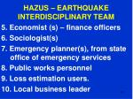 hazus earthquake interdisciplinary team107