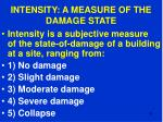 intensity a measure of the damage state