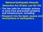 national earthquake hazards reduction act public law 95 12441