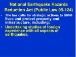 national earthquake hazards reduction act public law 95 12444