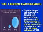the largest earthquakes