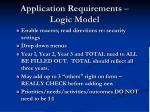 application requirements logic model62