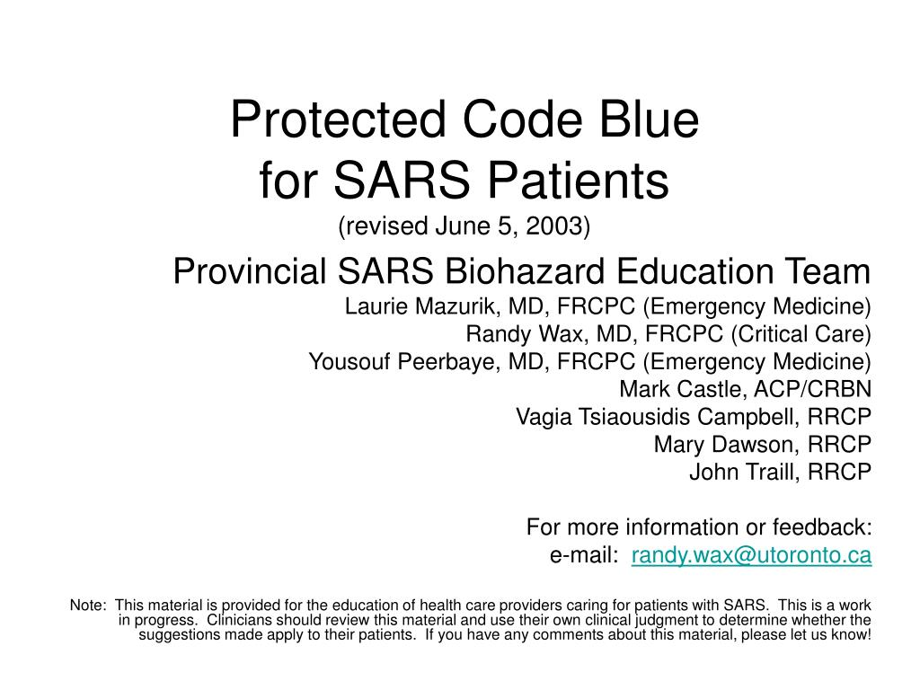 protected code blue for sars patients revised june 5 2003 l.