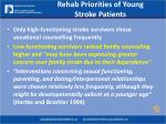 rehab priorities of young stroke patients17