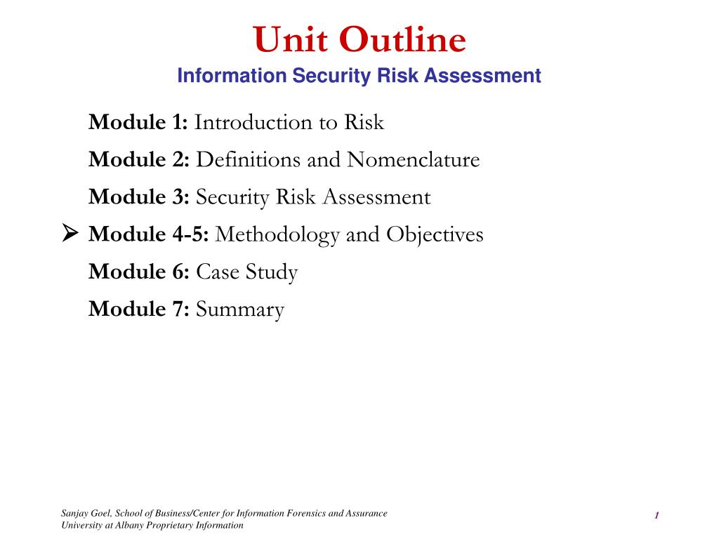 unit outline information security risk assessment l.