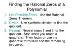 finding the rational zeros of a polynomial