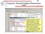 frequency nominal variables measurement level