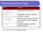 frames document tags