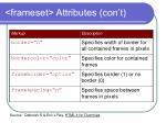 frameset attributes con t