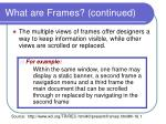 what are frames continued