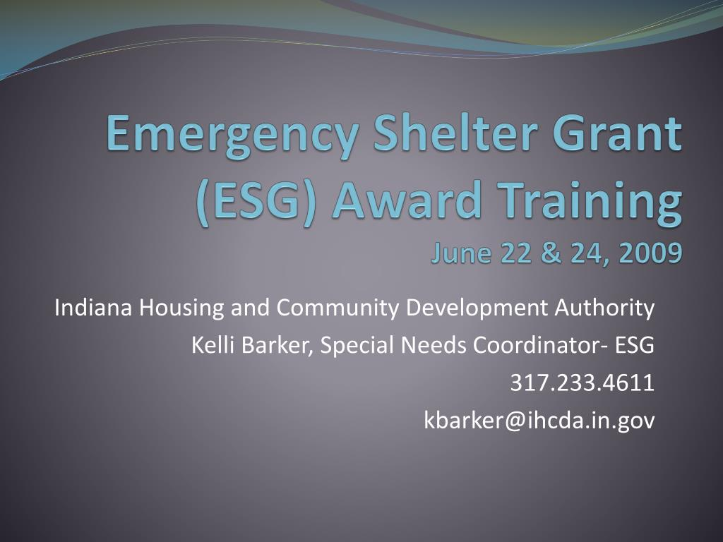 emergency shelter grant esg award training june 22 24 2009 l.