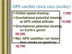 gps satellite clock rates ns day