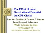 the effect of solar gravitational potential on gps clocks