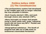 politics before 1830 i the constituencies