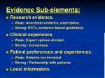 evidence sub elements
