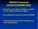 parihs framework current knowledge base