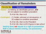 classification of remainders