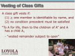 vesting of class gifts