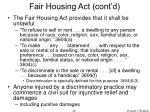 fair housing act cont d