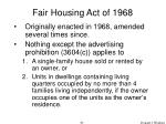 fair housing act of 1968