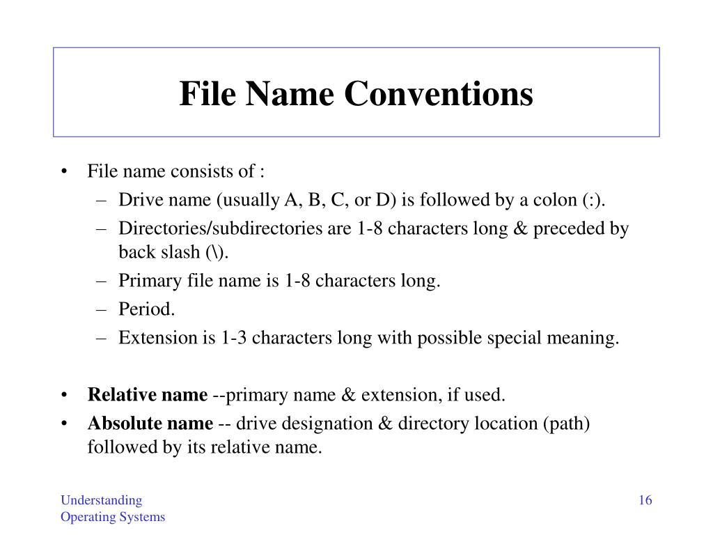 File Name Conventions