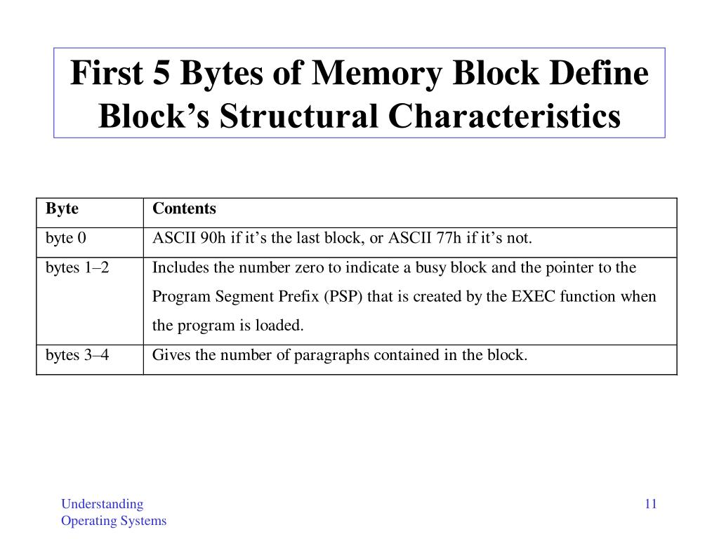 First 5 Bytes of Memory Block Define Block's Structural Characteristics