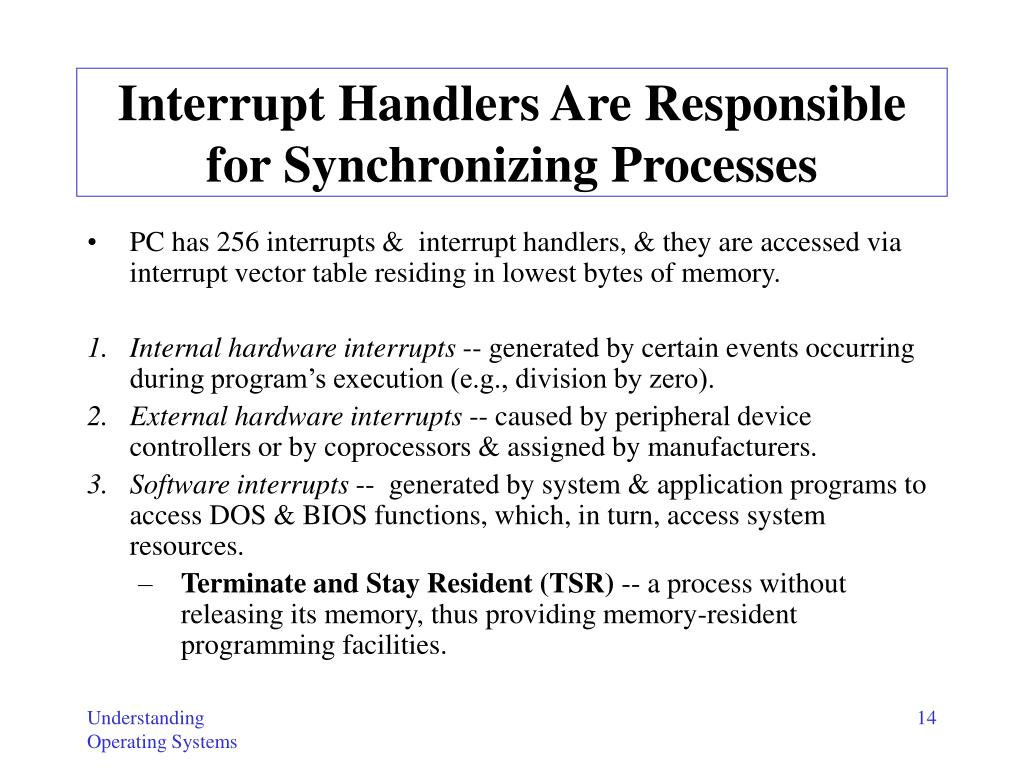 Interrupt Handlers Are Responsible for Synchronizing Processes