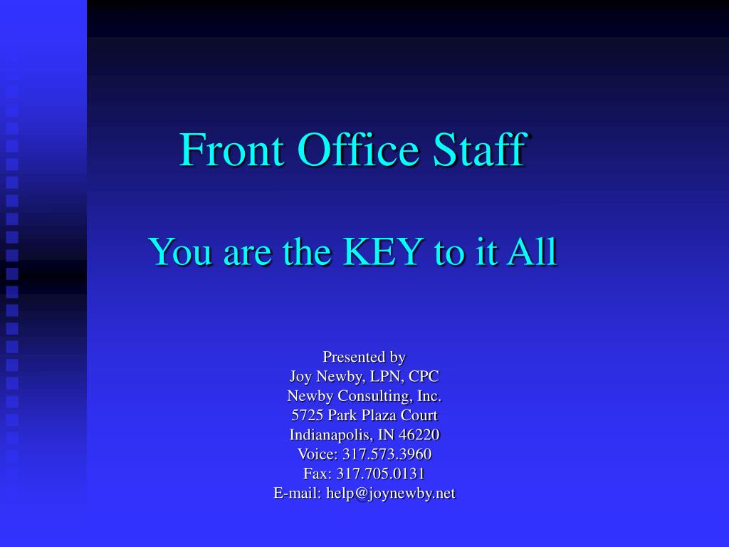 front office staff you are the key to it all l.