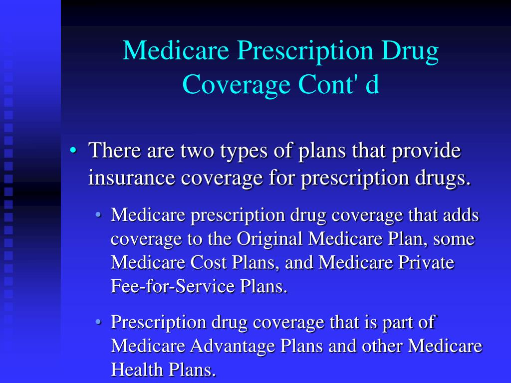Medicare Prescription Drug Coverage Cont' d