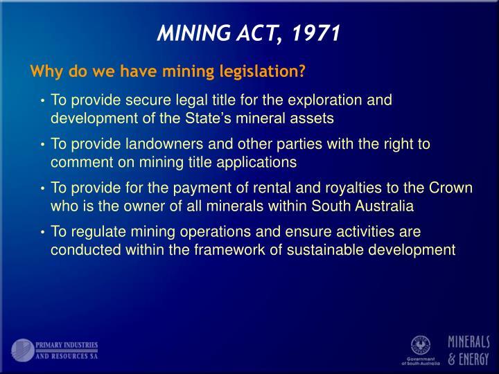 Mining act 1971
