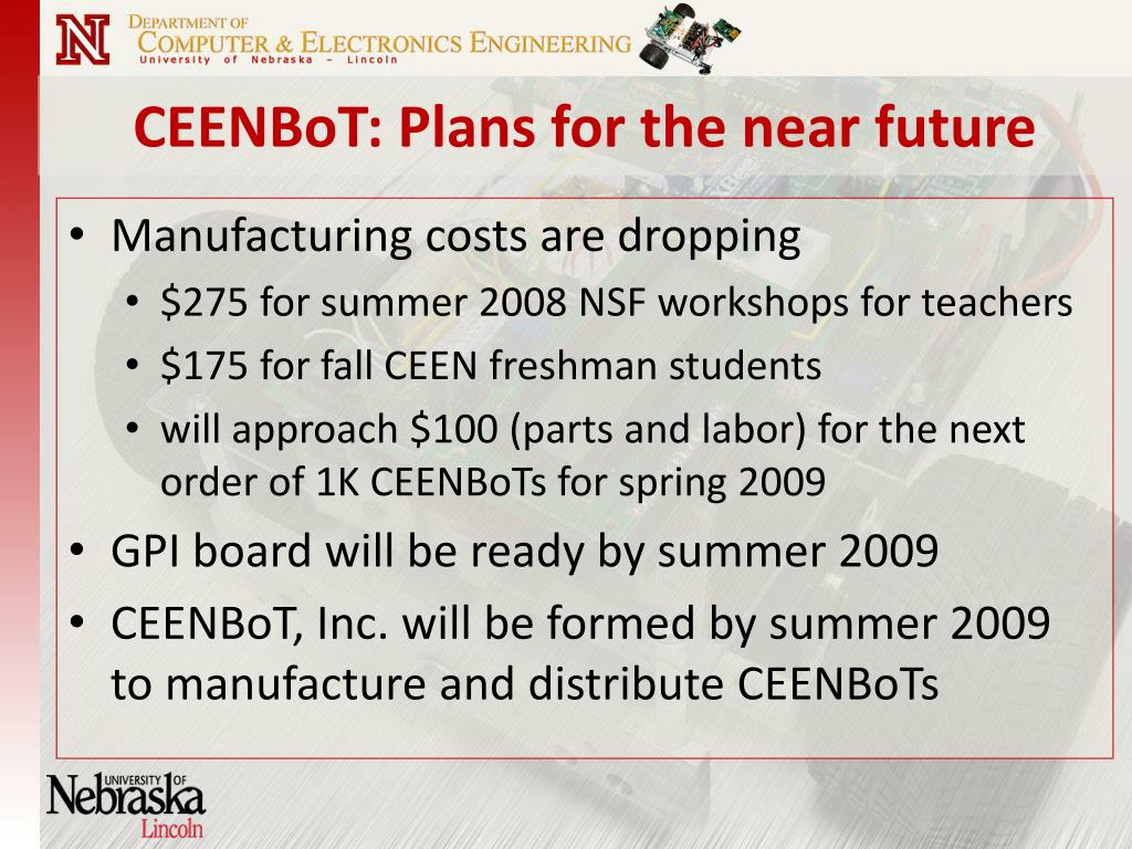 CEENBoT: Plans for the near future
