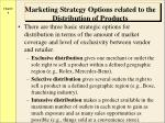 marketing strategy options related to the distribution of products