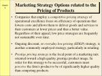 marketing strategy options related to the pricing of products