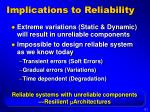 implications to reliability