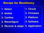 recipe for resiliency