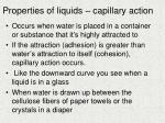 properties of liquids capillary action