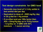 test design constraints for gmo food
