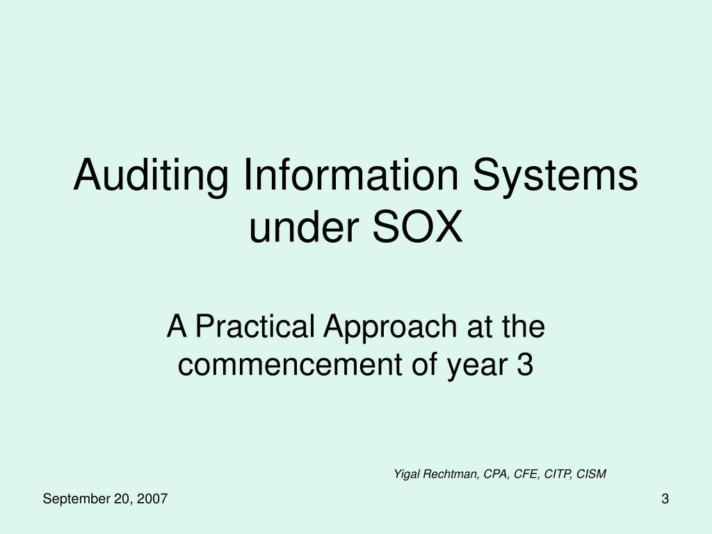 auditing information systems under sox l.