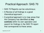 practical approach sas 70