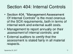 section 404 internal controls