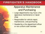 apparatus maintenance and purchasing