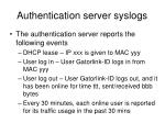 authentication server syslogs