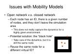 issues with mobility models