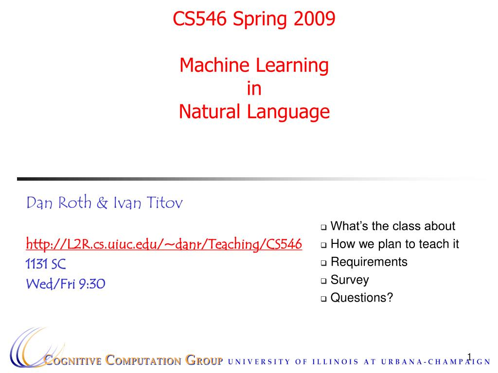 cs546 spring 2009 machine learning in natural language l.